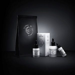 Various beatuy products infront of black background